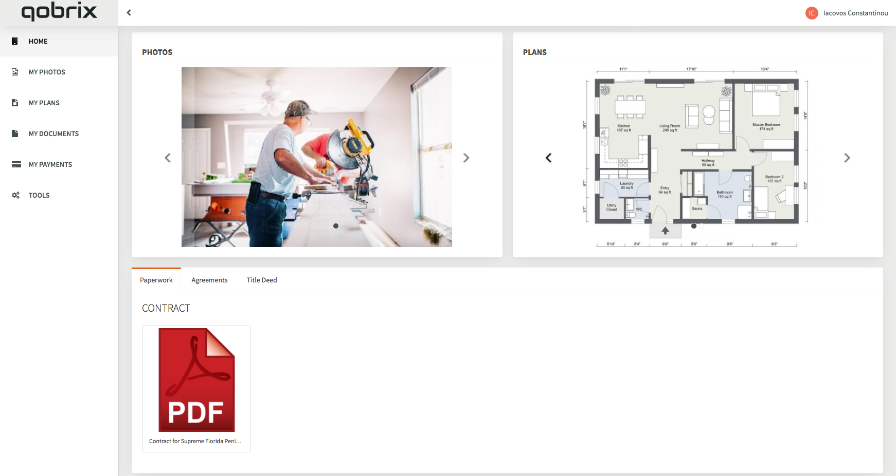 Real Estate Client Portal Dashboard with property photos, plans and documents