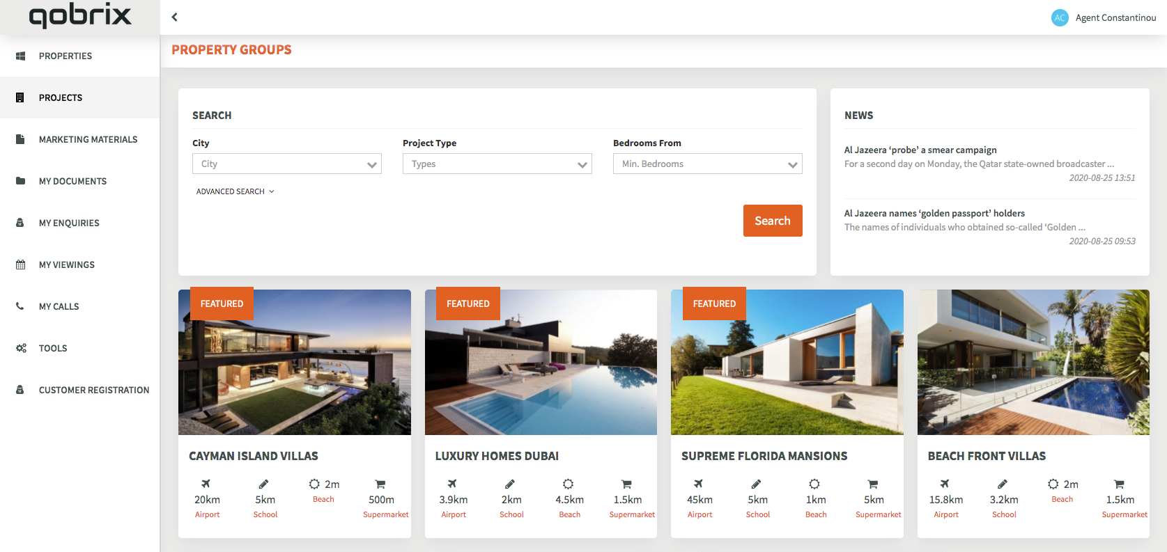 Qobrix's Real Estate Agent Portal Dashboard showing featured properties and advanced search functionalities