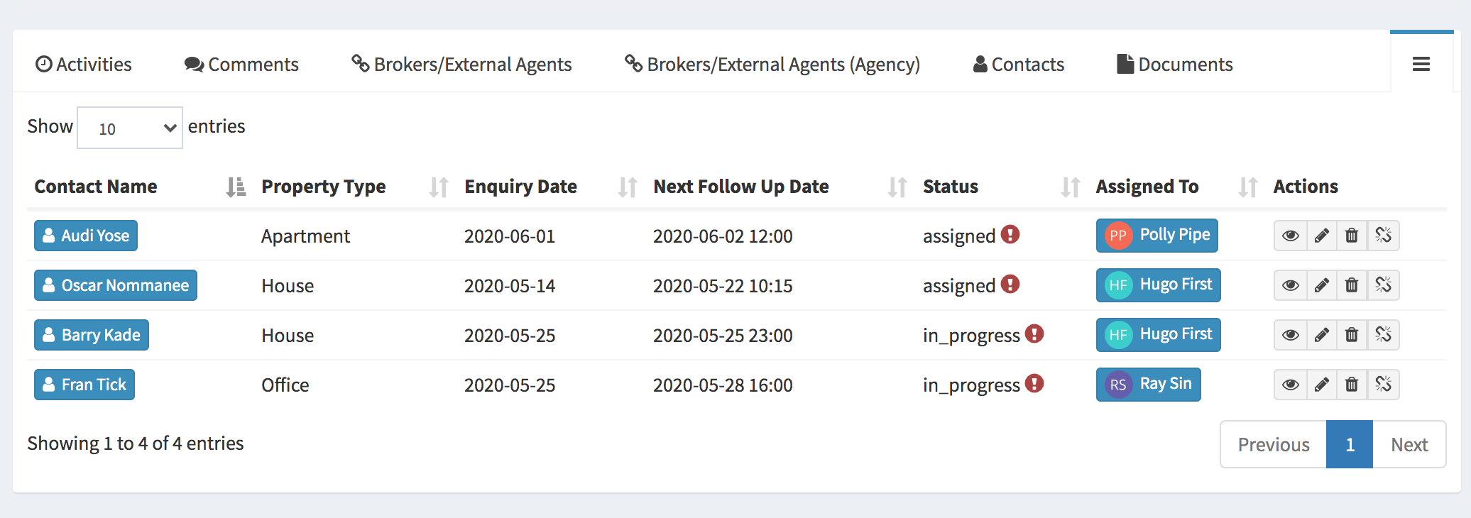 Lead management - monitor agent leads in Qobrix