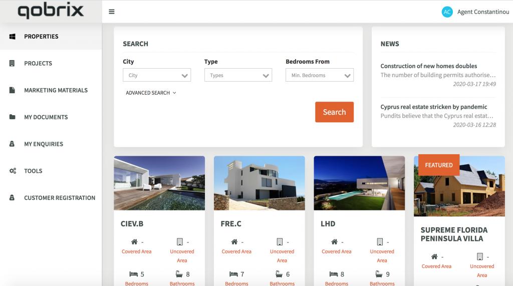 Real Estate Agent Portal Dashboard
