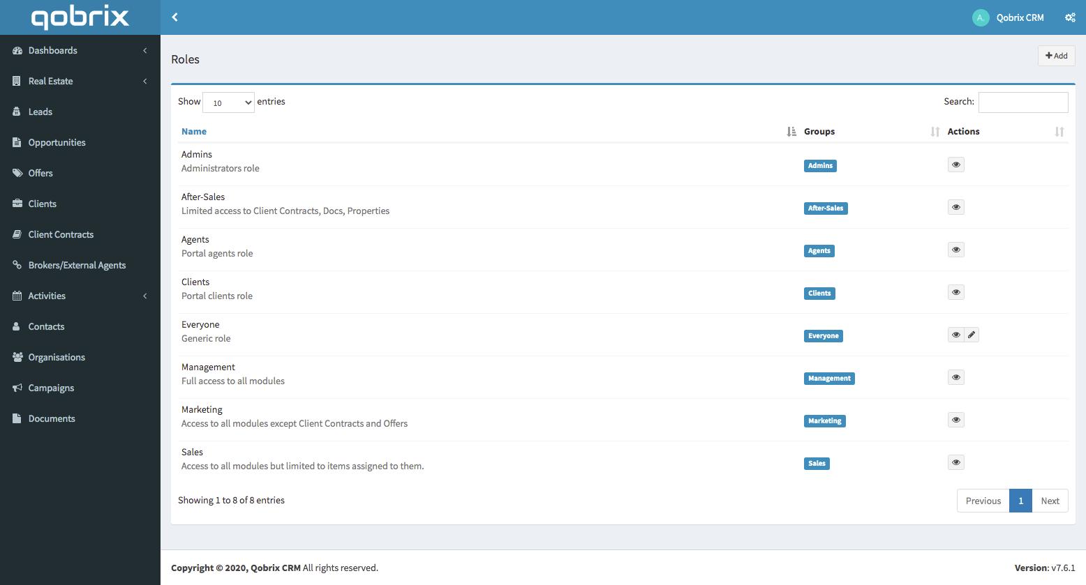 Qobrix Advanced Permissions-User based