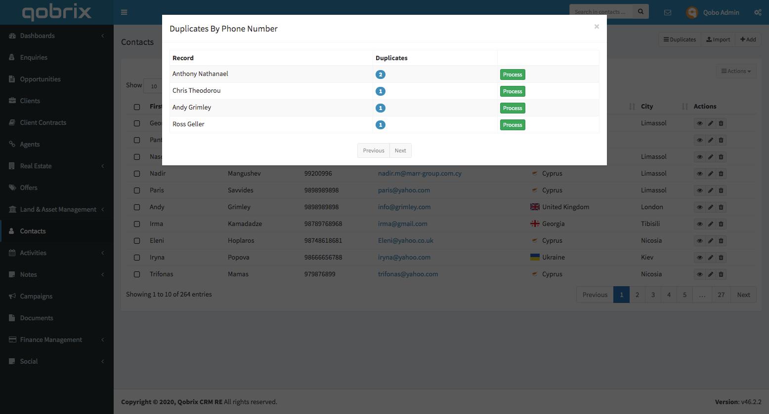Qobrix Duplicates module