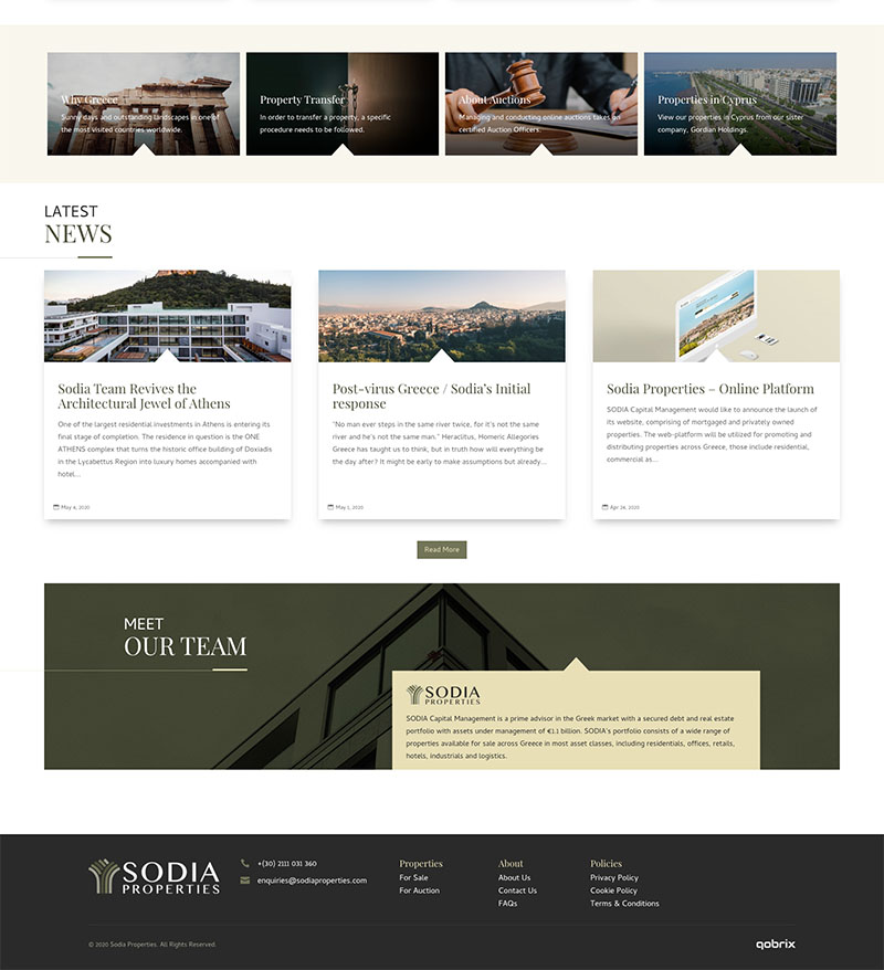 Sodia Properties real estate website design