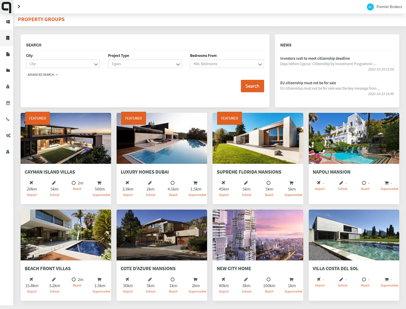 Real Estate Agent Portal property listing and search functionality