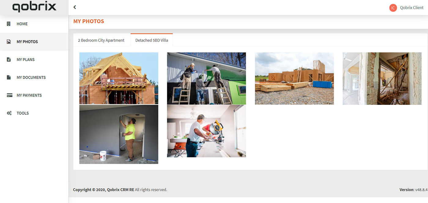 Qobrix Client Portal provides access to property progress and photos