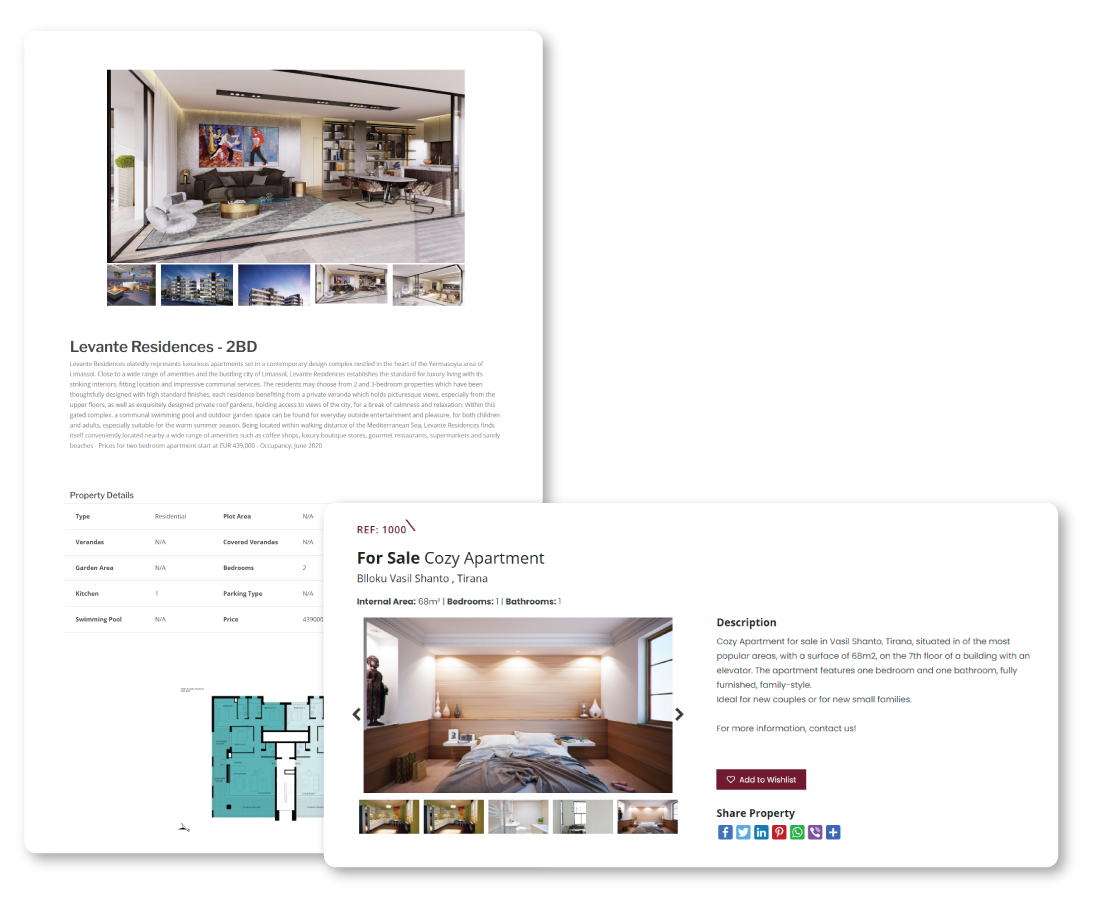 Real Estate website featuring detailed property information