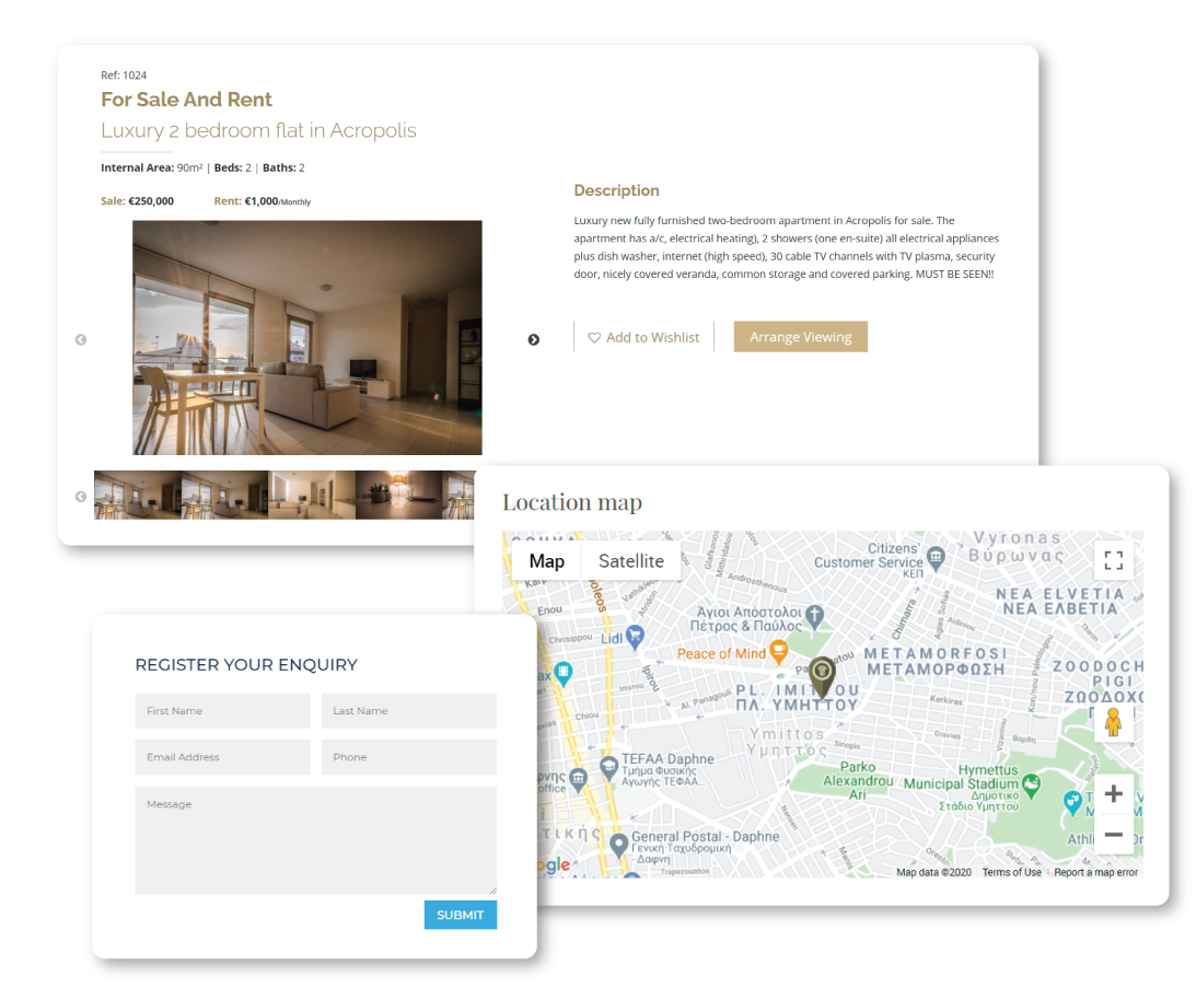Real Estate website with contact form and map for property location