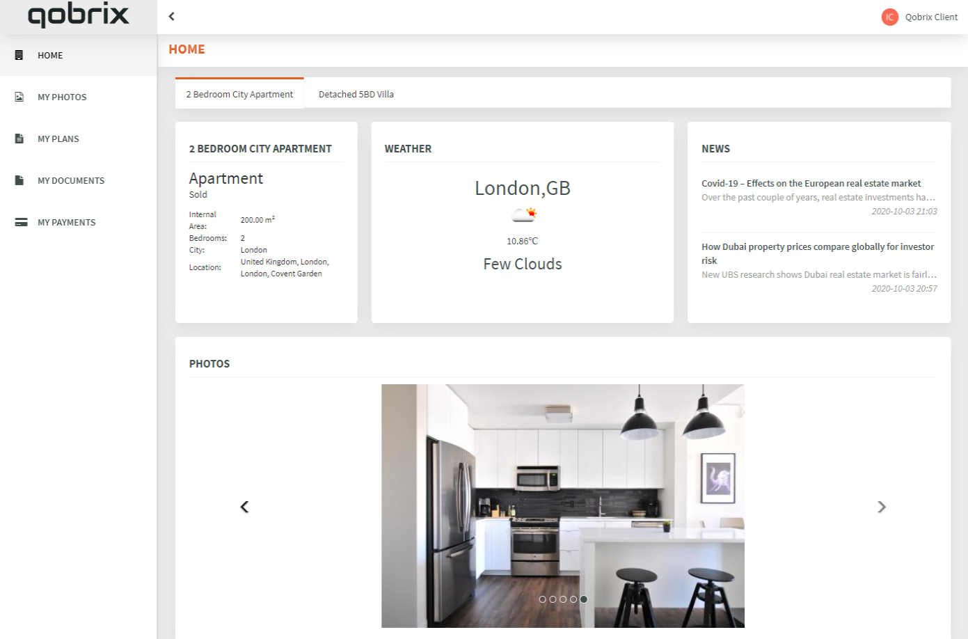 Qobrix Real Estate Client Portal Dashboard with property photos, plans and documents